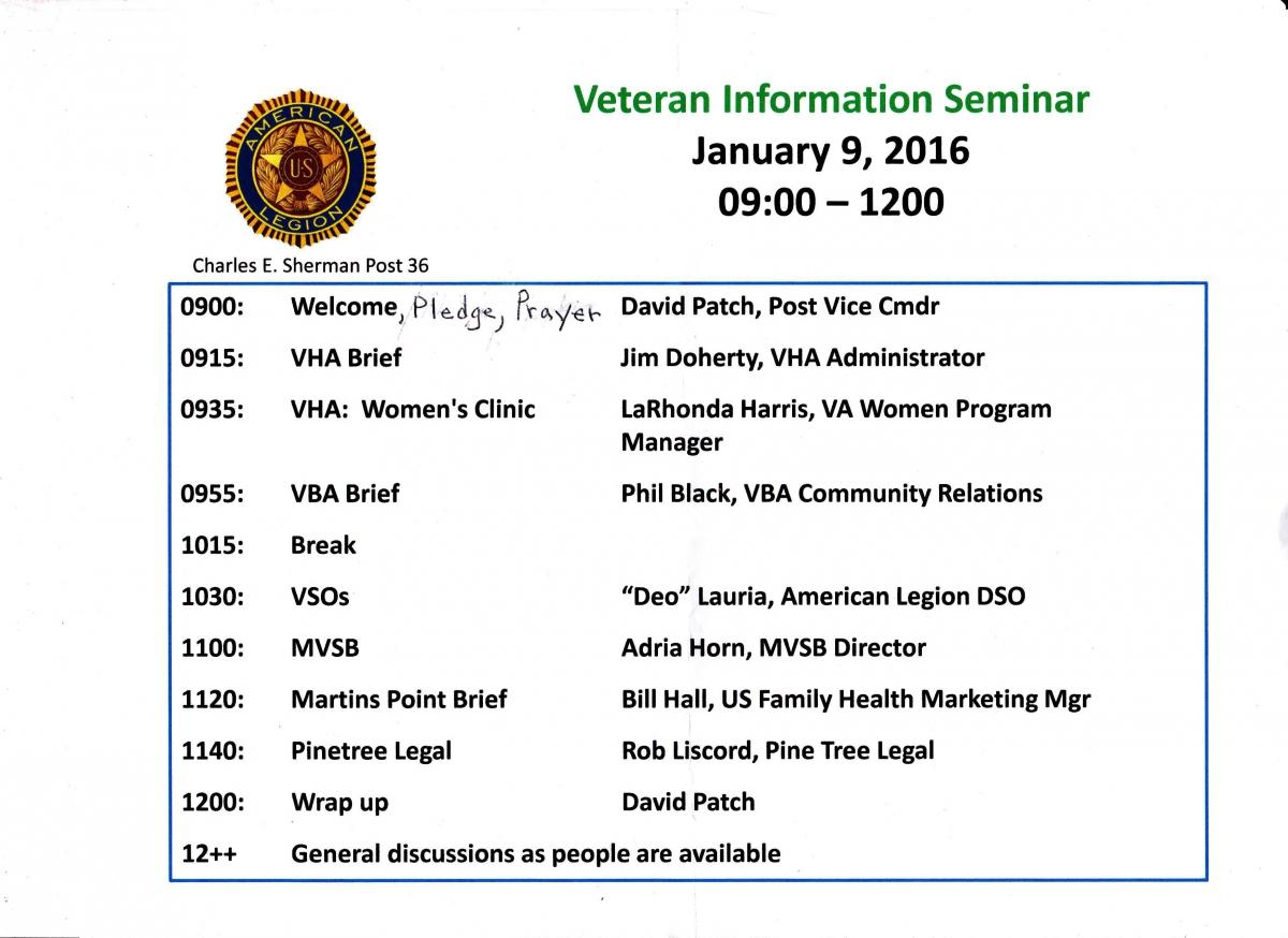 Veteran Information  Seminar - Jan. 2016