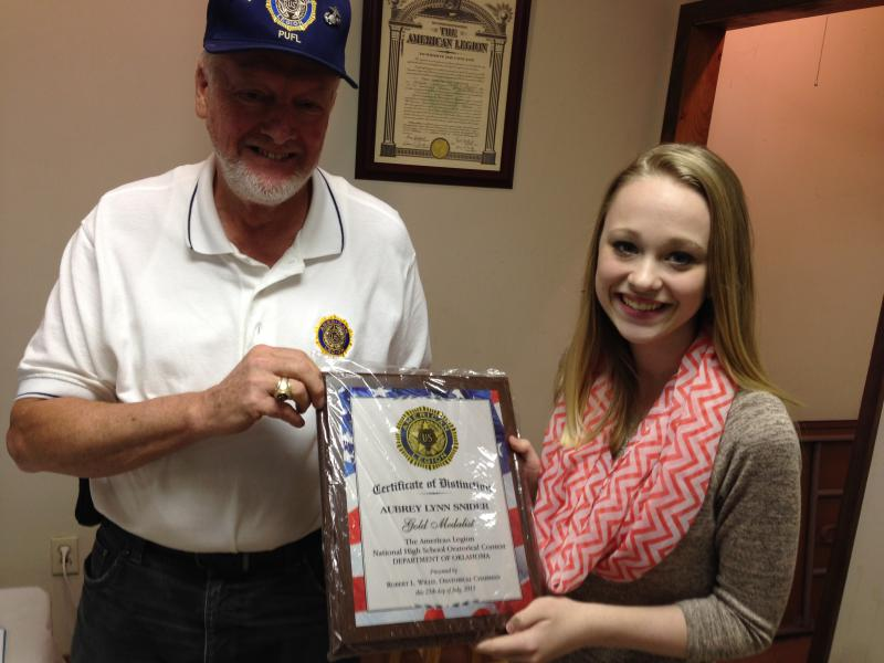 American Legion Post 129 Stillwater, Aubrey Snider came in Second Place in the 2016 State Oratorical Contest