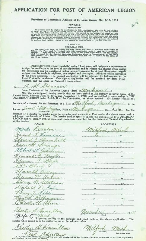 Application for Post of the American Legion