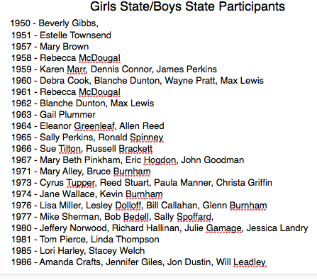 Girl's State/Boy's State Participants