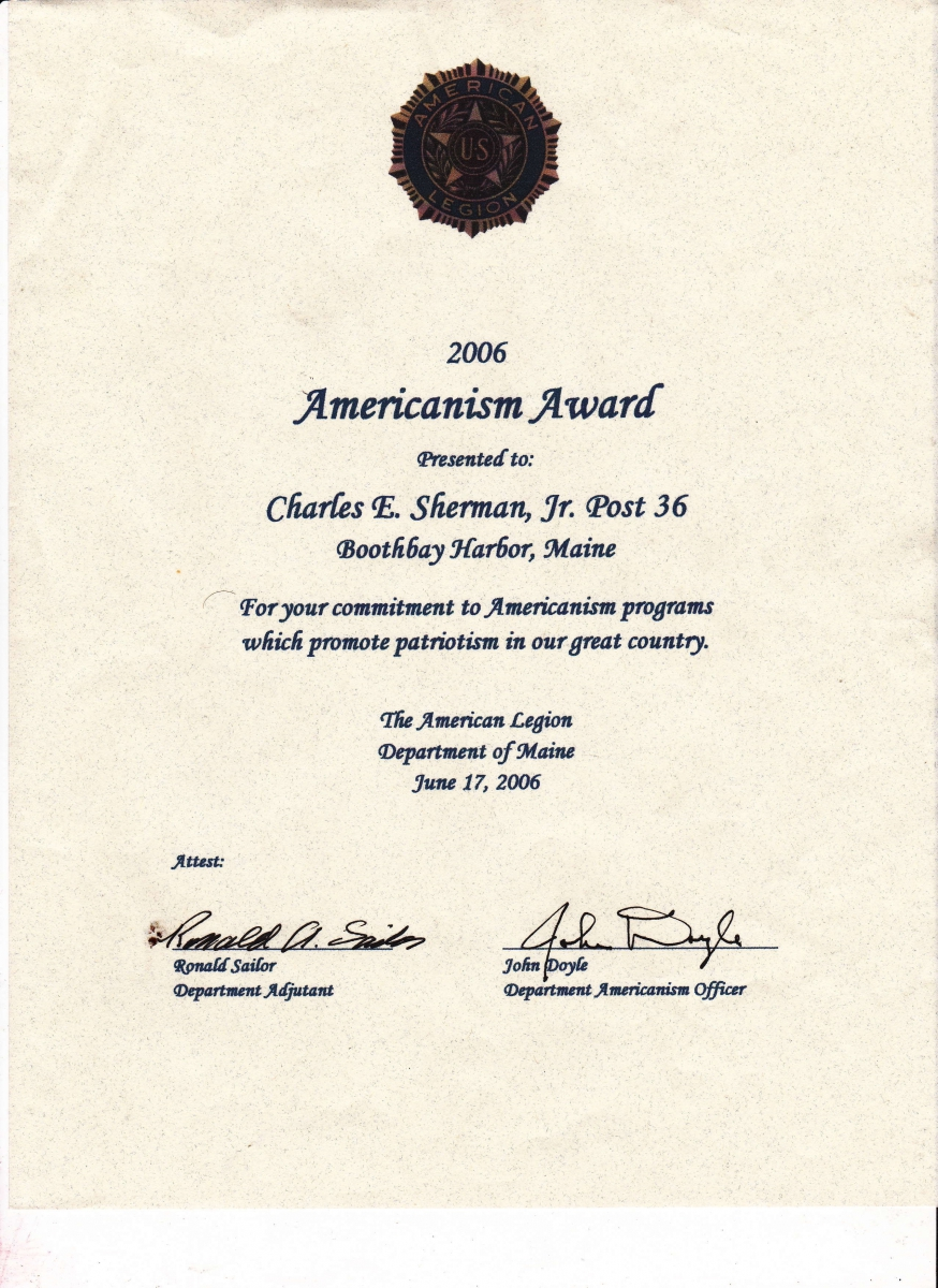100 Americanism certificates of appreciation, recognition, service   the