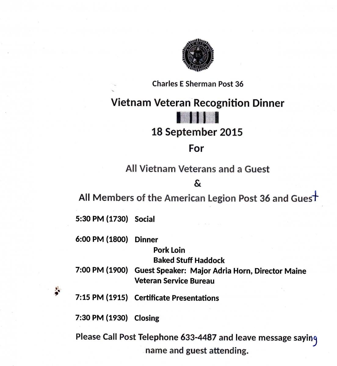 Vietnam Veterans Dinner Sept. 2015
