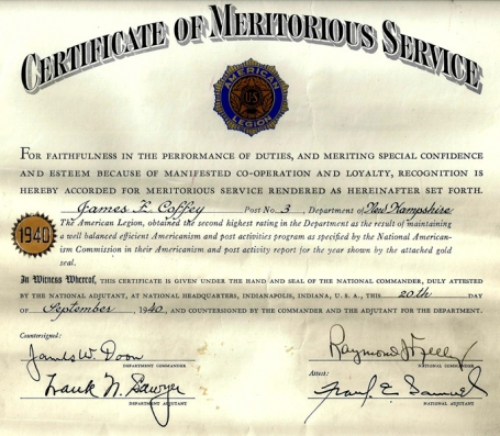 National Certificate of Meritorious Service | The American Legion ...