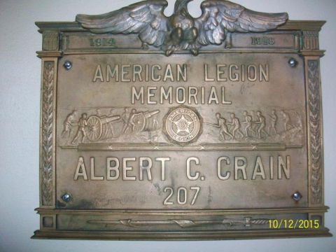 Albert C Crain American Legion Plaque