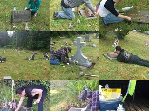 Crew that restored headstones
