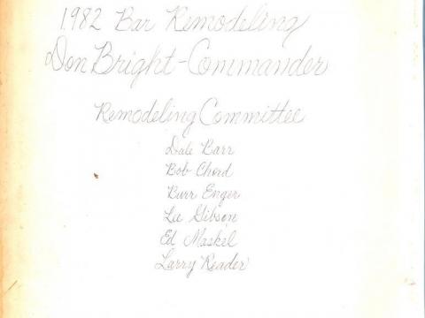 1982 Club Room Remodel