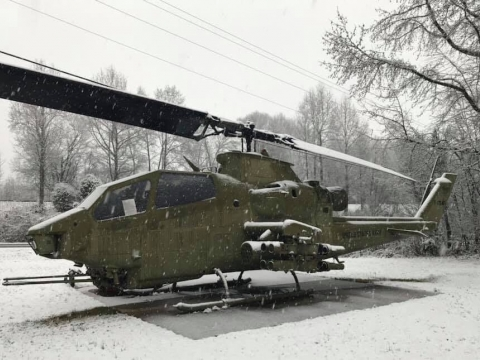 Our Huey with snow