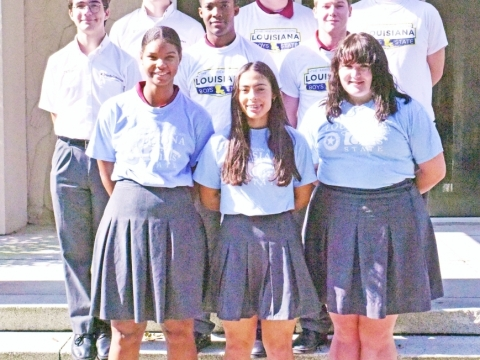 De La Salle Girls and Boys State (1 st row) Leah Kennedy, Dulcé Rivera, and Marigny Heller – Girls State, and (2 nd row) Wyatt Burch-Celetano, Robert Hudson, Eric Lorio; and (3 rd row) Drake Troxclair, Branden Durkee, and Peyton Preston