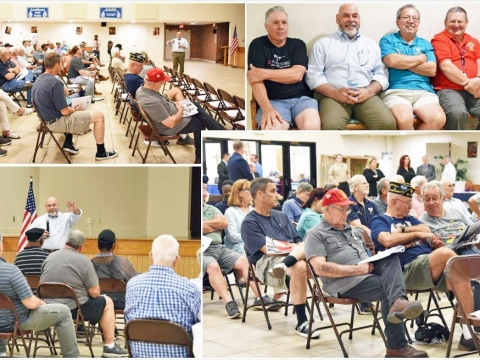2019-08-13. Post 307 members attend a V.A. Town Hall Meeting at St. Matthews the Apostle Church, River Ridge La. for a presentation by V.A. Hospital Director Fernando Rivera.