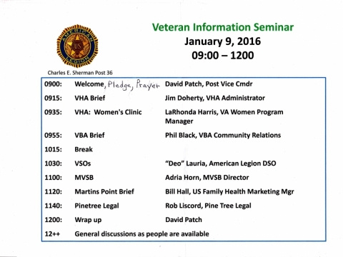 Veteran Information  Seminar - Jan. 2016