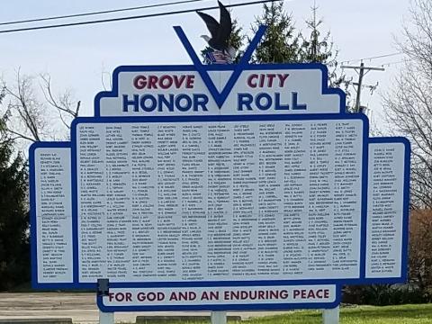 World War II Grove City Memorial Sign