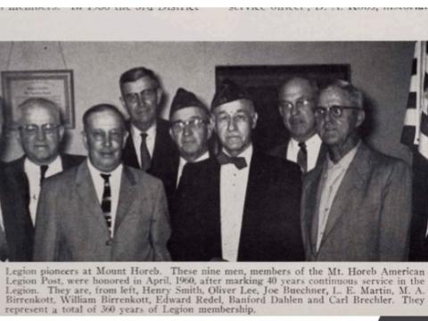 Mount Horeb American Legion 40 Year Members in 1960