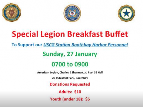 LegionBrreakfast Buffet to Support USCG Boothbay Harbor Personnel