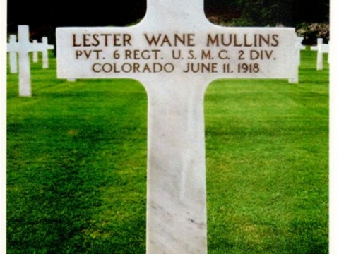 WWI Grave of Private Lester W. Mullins, USMC
