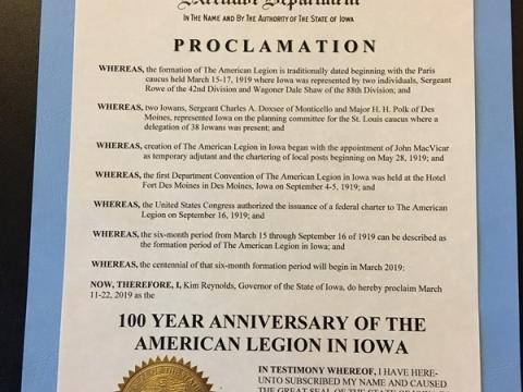 Gov. Reynolds signs 100 Years of American Legion in Iowa Proclamation