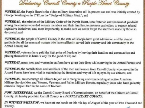 Commander Ronnie Pate Spearheads Purple Heart Proclamation
