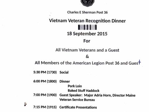 Vietnam Veterans Dinner Sept. 2015