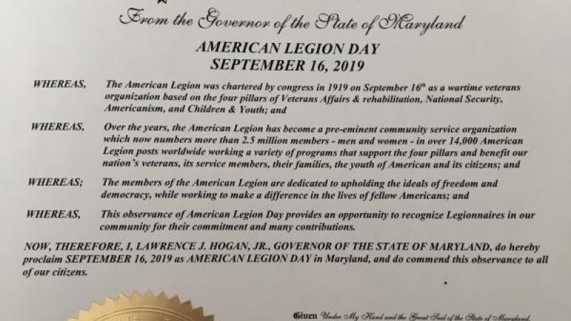 Francis Scott Key Post 11 and Maryland governor declare Sept. 16, 2019, American Legion Day