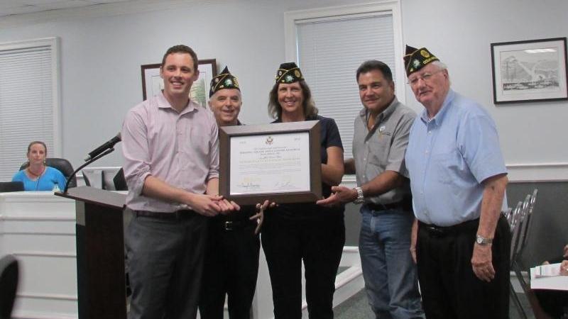 Post 42 (Ocean Springs, Miss.) displays U.S. World War One Centennial Award
