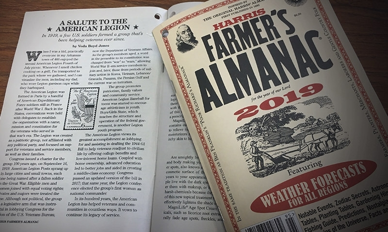 Legion centennial highlighted in 2019 Farmer's Almanac