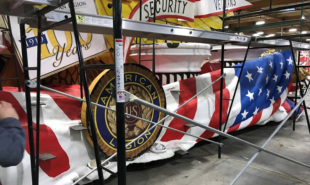 American Legion Rose Parade float progressing